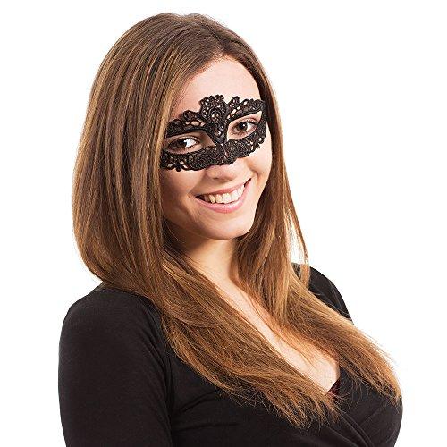 Bristol Novelty EM096 Augenmaske mit Band und Spitze, Damen, Mehrfarbig, Einheitsgröße