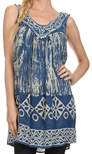 Sakkas 84 - Wanda May gestickte Batik Scoop Neck Entspannte Fit Ärmellose Bluse - Blau - OS
