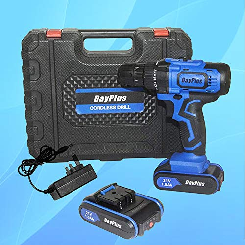 Cordless Drill Driver, 21V 45Nm Compact Electric Drill Cordless Set, 1500mAh Rechargeable Battery, 18+1 Torque Setting, 2-Speed Trigger w/Hammer,Magnet,LED Light,0.8-10mm Chuck,1.5h Fast Charger