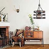 Yhtech nórdico Lámparas colgantes de madera del arte Isla de cocina de la lámpara lámparas de iluminación - luz pendiente retro Ronda Restaurante Bar Espolvorear Industrial viento 5 luces de la lámpar