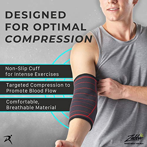 Elbow Support Sleeve for Men and Women (Single Sleeve) (Large) [L] - Support for Tennis Elbow, Golfers Elbow, Weightlifting, Tendonitis, Joint Pain Relief, Arthritis