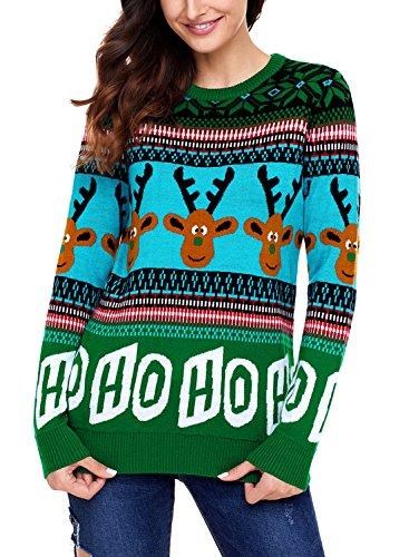 Aleumdr Strickjacke Langarm Pullover Sweater Herbst Winter Strickpullover O-Ausschnitt Sweatshirt Strickpulli M - Grün