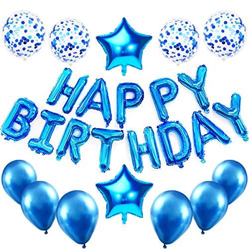 Hanmulee Geburtstagsdeko Blau Deko, Happy Birthday Ballons Geburtstag Dekoration für Junge Baby, Party Deko, Blau Konfetti Luftballons, Tischdeko Geburtstag Deko