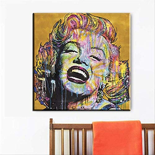 YGKDM Leinwand Malerei Wohnkultur 1 Stück Andy Warhol Marilyn Monroe Bilder Drucken Abstrakte Graffiti Poster Wohnzimmer Wandkunst Rahmen 50 cm x 50 cm x 1 Gerahmt
