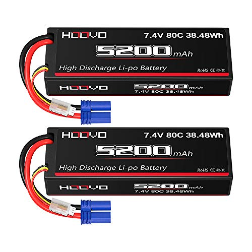 HOOVO 7.4V 80C 5200mAh 2S Lipo Battery Hard Case with EC5 Connector for RC Car Truck Truggy Buggy Tank RC Airplane Helicopter Boat Car Racing (2 Pack)