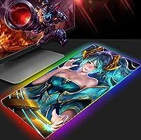 ゲーミングマウスパッドかわいいアニメーションゲームガール大型RGBマウスパッドXxl拡張LEDマウスパッド、滑り止めラバーベース、ラップトップ用ロングソフトライトアップコンピューターマウスマット800x300 MM
