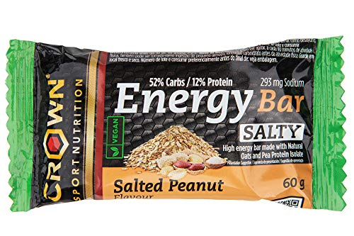 Crown Sport Nutrition - Energy Vegan & Salty Bar, High Energy bar Cycling, Running Made with Natural Oats and Pea Protein Isolate, 237 Kcal Per Serving, Salty Peanut Flavour, 10 Unit x 60 g
