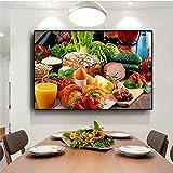 BailongXiao Légumes Pain Fruits Cuisine Toile Murale Photo Salon Décoration de La Maison Murale,Peinture sans Cadre,45x67cm