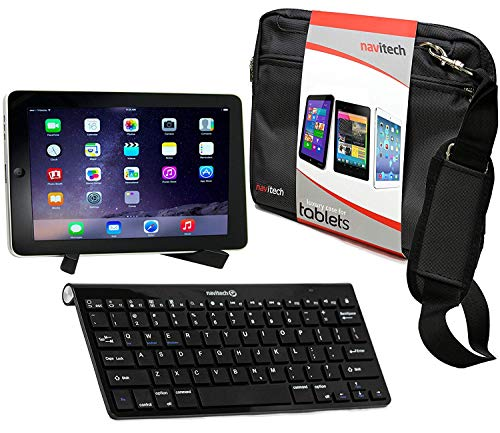 Navitech Konverterpaket Inklusive drahtloser Bluetooth-Tastatur/schwarz Tasche & tragbarem Standfuß kompatibel mit Medion lifetab X10300 | Medion Lifetab X10311