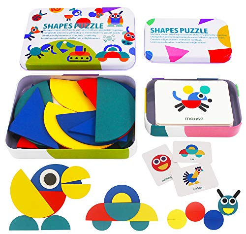 FLYINGSEEDS Wooden Pattern Blocks Animals Jigsaw Puzzle Sorting and Stacking Games Montessori Educational Toys for Toddlers Kids Aged 3+ Years Old (36 Shape Pieces & 60 Design Cards in Iron Box)