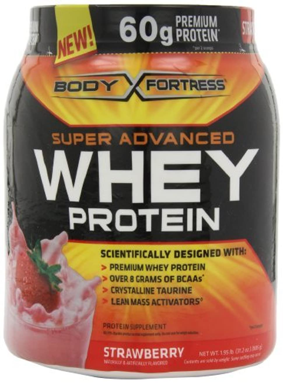 Body Fortress Super Advanced Whey Protein, Strawberry, 1.95 lb. (885 g) by Body Fortress