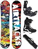 AIRTRACKS Graffiti Wide Flat Rocker - Juego de Tabla de Snowboard, Fijaciones maestras, Botas de Snowboard, Bolsa de Transporte, 155 159 163 cm, Boots Savage Black 44