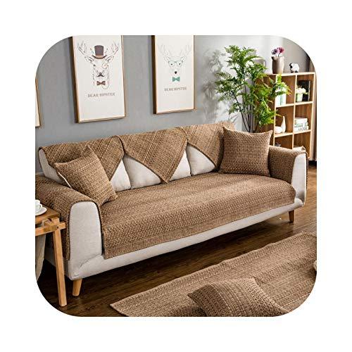 Hylshan Funda de sofá de tela de lino de algodón para sofá de color sólido, funda de asiento para sala de estar, sofá esquinero, toalla, 01-110x150 cm, 1 pieza