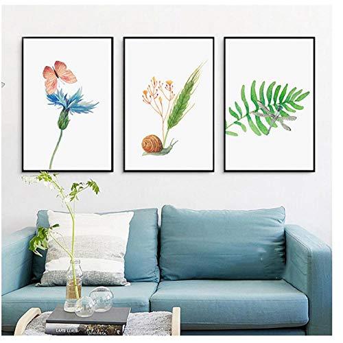 Jwqing Aquarel groene planten en dieren - Posters Nordic Canvas schilderij afdrukken muurkunst foto's kinderkamer Home Deco Gift (40 x 60 cm x 3 zonder lijst)