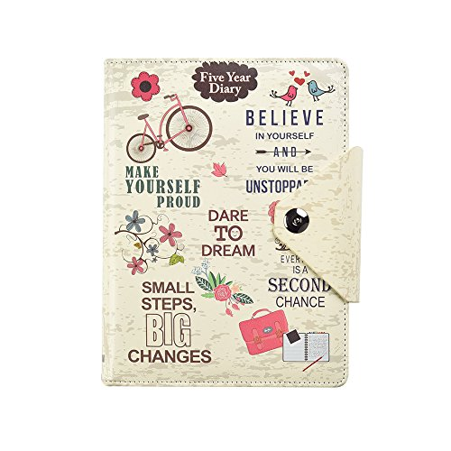 Five 5-Year Diary Organizer – Undated Daily Planner Journal Book - Stud Button Closure – A5 Writing Paper - Faux Leather Inspirational Slogan Art Cover, by Arpan (Cream)