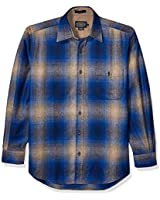 Pendleton Men's Long Sleeve Classic Fit Trail Wool Shirt, Tan/Blue Ombre, SM