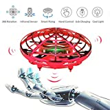 WALLE Drone for Kids Flying Ball Toys Hand Controlled Ball for 6 8 10 Children Boy Girl Gift(Red)