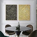 Lienzo Arte de la pared Decoración para el hogar Línea dorada abstracta Póster geométrico e impresión Arte Pintura Decoración de pared Imagen para sala de estar 30x45cm (11.8x17.7in) x2 Sin marco