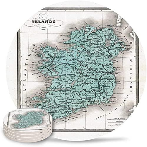 Posavasos para Bebidas Mapa de Irlanda, Posavasos de cerámica de Piedra Absorbente de la Tierra con Respaldo de Corcho y sin Soporte para Tazas, Juego de 6 Piezas Vintage-6