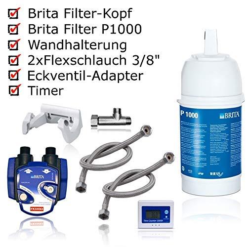 Untertisch-Wasserfilter: BRITA Filter-Kopf, BRITA Filter P1000, BRITA-Filterwechselanzeige, Flexschlauch, Eckventil-Adapter