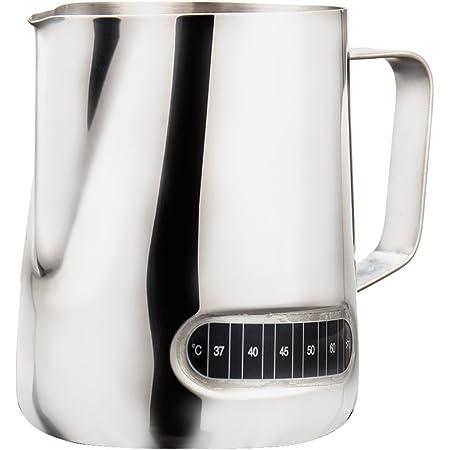 Kaffeekanne Latte Espresso Thermometer Milchaufschäumkanne 600ml,
