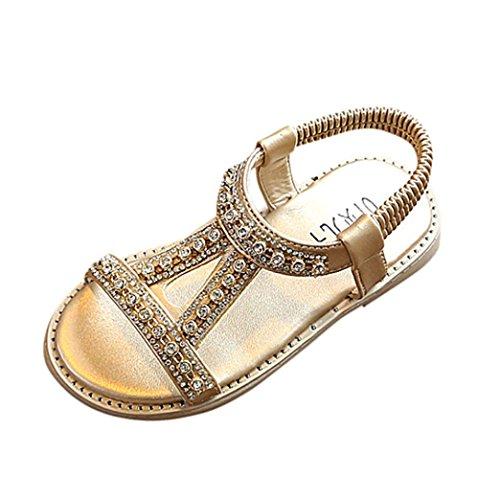 FNKDOR Kinder Baby Mädchen Sandalen Kristall Sandalen Prinzessin Sommer Schuhe (21, Gold)