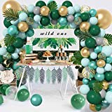 121Pcs Jungle Safari Theme Baby Shower Decorations Balloons Garland Arch Kit, Latex Gold Confetti Pastel Green Balloons Palm Leaves for Wild One Birthday Decorations Party Supplies & 4 Balloon Tools