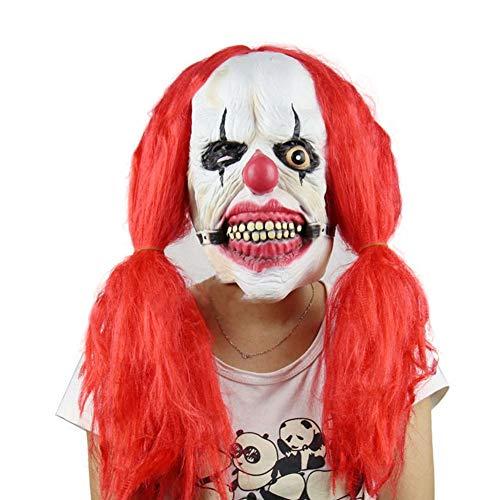 Recién Scary Asesino Payaso Máscara con Pelo Rojo Fantasma Película Máscaras Halloween Props Disfraces Suministros