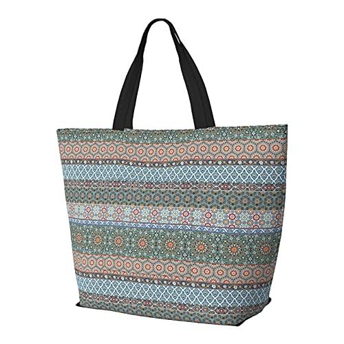 Schultertasche Arabische dekorative Azulejos Fliesen faltbare Tragetasche für Frauen Teenager Mädchen groß wiederverwendbar tragen tolle Reisetasche Mode Schultertaschen