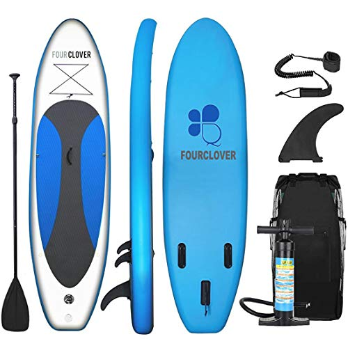 FOUR CLOVER Inflatable Stand Up Paddle Board Universal SUP 6 inches Thick, Wide Stance w/Bottom Fin for Paddling and Surf Control for Youth and Adult Surfing Water Sports (Marine Blue)
