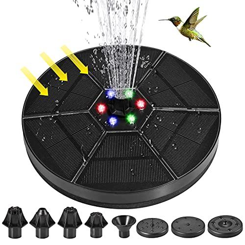 Solar Springbrunnen mit LED Licht, Lachesis 3.5W Klein Solar Springbrunnen pumpe mit 2000mAH akkuspeicher Solar Springbrunnen für Außen mit 7 Düsen, für Vogelbad, Aquarium, Teich und Garten