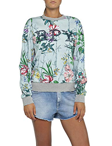 Replay Damen W3971H.000.71770 Sweatshirt, Mehrfarbig (Coloured Flowers 10), Small (Herstellergröße: S)
