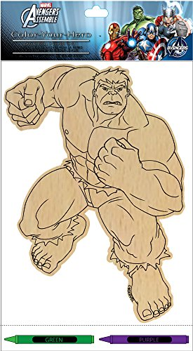 Edge home Products Hero Wood Wall Plaque with Crayons, 10-Inch, Hulk