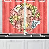 Kitchen Curtains Cute Cartoon Monkey Holding Dim Sum Window Drapes 2 Panel Set for Kitchen Cafe Decor, 52' X 39', Long Kitchen Curtains