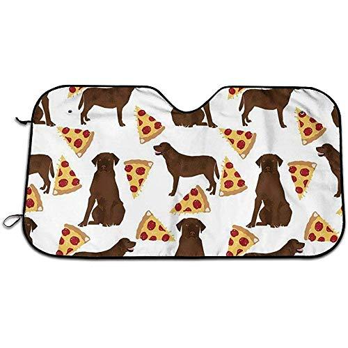 Chocolade Labrador Pizza Auto Voorruit Zon Schaduw UV Auto Beschermer Zon Scherm Voorruit Zon Schaduw Past Meest Universele Familie Auto's 147X118CM
