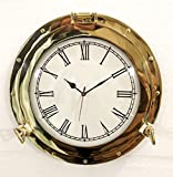 Reloj analógico de 50,8 cm, diseño de buey marino antiguo de latón macizo para colgar en la pared, decoración del hogar (38,1 cm)