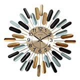 AMYZ Reloj de Pared geométrico de Metal,Modelado de diseño Lineal de Plumas Retro Vintage contemporáneo,Reloj de Pared Grande de Aspecto Moderno de Mediados de Siglo,Movimiento de Cuarzo,sin tict