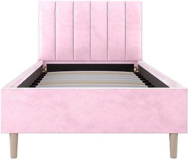 Bed Frame Upholstered Velvet Cushioned Headboard Mattress Single Size Pink