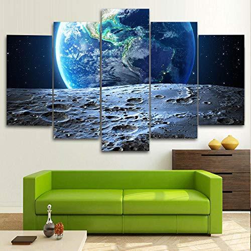 5 Piezas Cuadro sobre Lienzo De Fotos Naturaleza del Espacio de la Tierra y la Luna Lienzo Impresión Cuadros Decoracion Salon Grandes Cuadros para Dormitorios Modernos Mural Pared Listo para Colgar