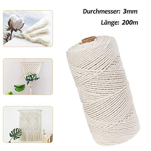 Dusor Makramee Garn 3mm-200m, Baumwollgarn Weiß, Natürliche Baumwollkordel, Macrame Garn für...