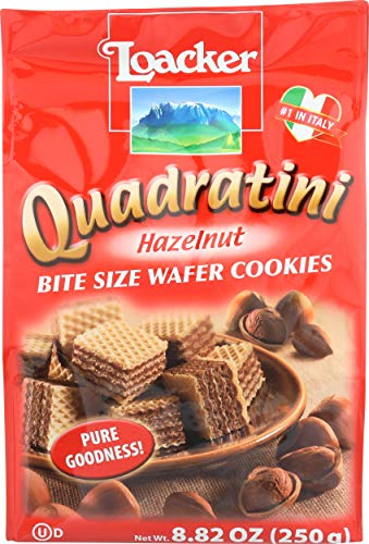 Loacker Quadratini Hazelnut Wafer Cookies, 8.82-Ounce Packages (Pack of 8)
