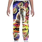 CLERO& Youth Kids 3D Print Jogger Pants Hamburger Space Cat On Burger Funny Trousers Baggy Sweatpants Teens Unisex