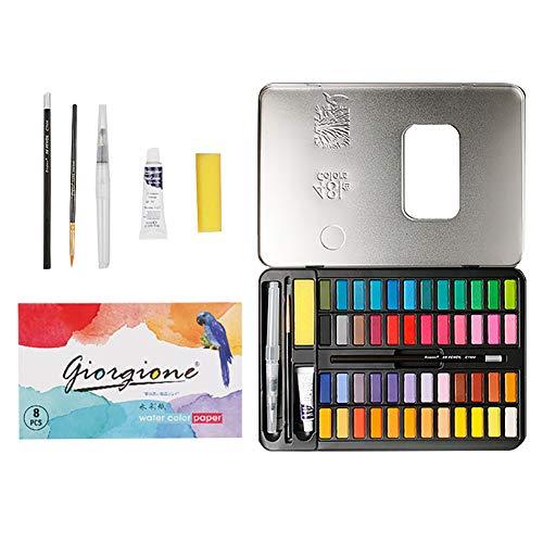 Juego de pintura para acuarela, juego de 72 acuarelas con pincel de mezcla de pigmentos sólidos para acuarelas, suministros de arte y manualidades, No nulo, negro, Tamaño libre