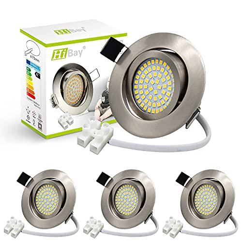 4er Ultra Flach LED Einbaustrahler 230V Einbauspots Warmweiß 3,5W Deckenstrahler Edelstahl Gebürstet Einbauleuchten 40° Schwenkbar-HiBay®