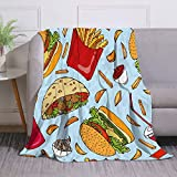 Miblor Fast Street Food with Hamburger French Fries Coke and Pita Blanket Super Soft Warm 60x80 Inch Plush Fleece Throw Blanket for Sofa Bed Travelling Camping Gift Idea