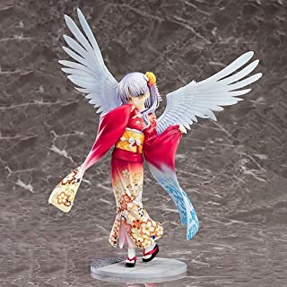 DMCMX Angel Beats! Handmade Model Anime Character Tachibana Kanade Post-mortem World School Student President Red Kimono Angel Wing Static Desktop Decoration PVC Material 19cm