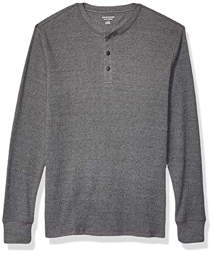 Amazon Essentials Men's Regular-Fit Long-Sleeve Waffle Henley, Charcoal, Large
