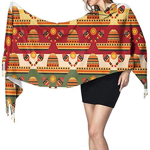 Gelukkig Cinco De Mayo Feestelijke Kleurrijke Sjabloon met Sombrero Gitaar en Bloemen Kasjmier Sjaal Bedrukte Sjaal Mode Lange Sjaal voor Vakantie Gift 77 x 27 Inch