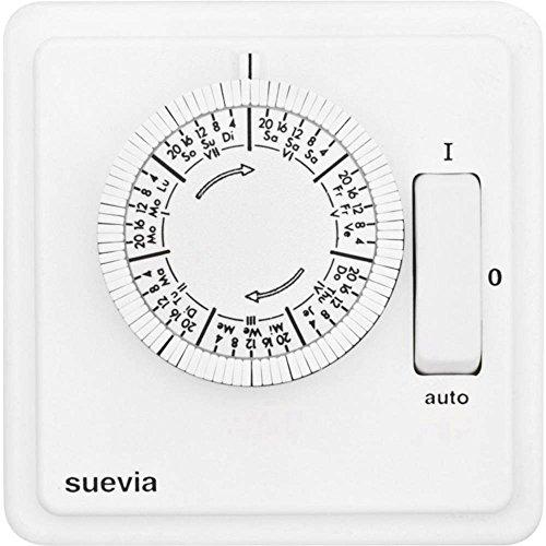 Suevia SU280440 Unterputz-Zeitschaltuhr analog Wochenprogramm 2200W IP20 EIN/Auto/AUS-Programm