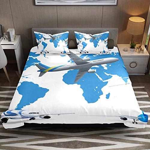 Set copripiumino per letto king size, morbido e confortevole, in microfibra, facile da pulire, con motivo a cinque aerei che volano attraversando la mappa del mondo blu, 3 pezzi